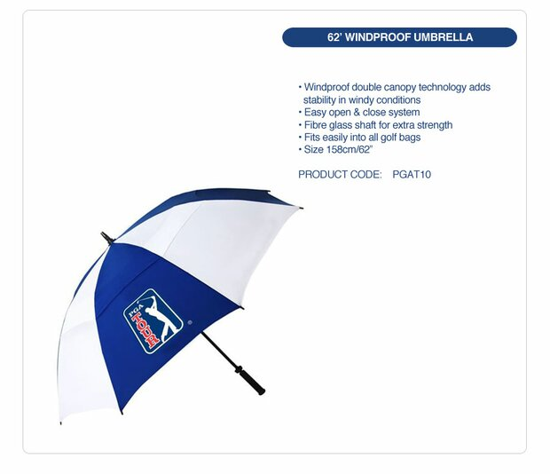 PGA TOUR Windproof Double Canopy Regenschirm