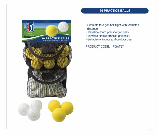 PGA TOUR 36 Indoor and Outdoor Practice Balls